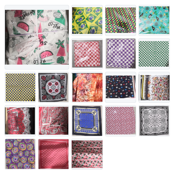 "Collection Three Of Assorted Fashion Bandana Head Wrap In Various Patterns And Designs 100% Cotton 22""X22"""