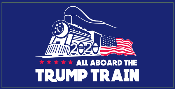 *TEMPORARILY OUT OF STOCK* All Aboard The Trump Train Blue- Bumper Sticker