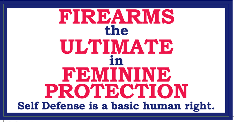 Firearms The Ultimate In Feminine Protection- Bumper Sticker