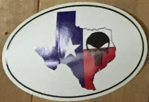 TEXAS STATE OUTLINE WITH FLAG PATTERN AND SKULL (OVAL SHAPED) OFFICIAL BUMPER STICKER PACK OF 50 BUMPER STICKERS MADE IN USA WHOLESALE BY THE PACK OF 50!