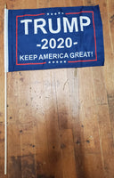 12 Stick Flags Blue Trump 2020 KEEP AMERICA GREAT! - 12x18 Rough Tex ®