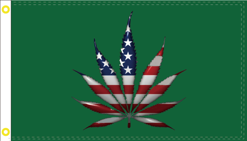 USA MARIJUANA LEAF ON GREEN FLAG 3X5 ECO MARIJUANA AMERICAN ECOLOGY