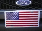 USA FLAG LICENSE PLATE ALUMINUM EMBOSSED AUTO TAG