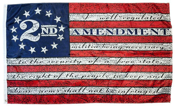 "2nd Amendment Betsy Ross 12""X18"" Flag W/ Grommets - Rough Tex® 150D Nylon"