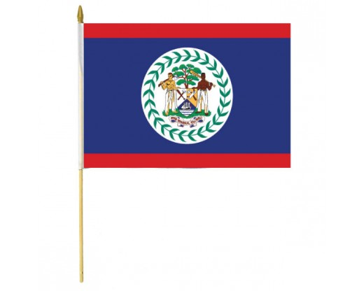 Belize Stick Flag In Poly- 4''x6'' Rough Tex®