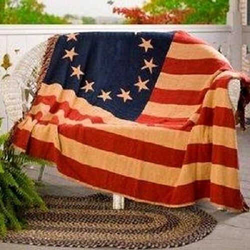 Betsy Ross Flag Afghan Style Hand Woven 100% Cotton Throw Blanket Early American Revolution