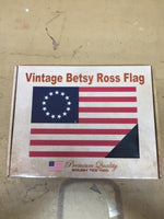Vintage 420D Boxed Gift American Revolution USA 13 Stars Betsy Ross Flag 3x5 feet sewn & embroidered