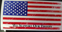WE SUPPORT OUR TROOPS AMERICAN FLAG Bumper Sticker