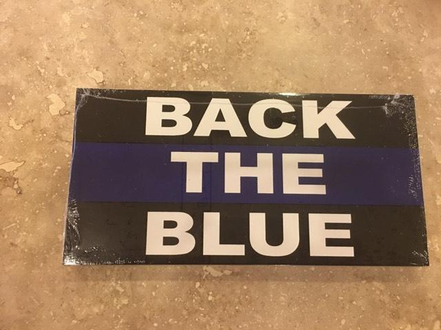 BACK THE BLUE POLICE BLUE LINE OFFICIAL BUMPER STICKER PACK OF 50 BUMPER STICKERS MADE IN USA WHOLESALE BY THE PACK OF 50!