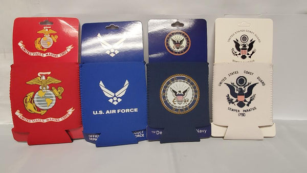 US Military Four Branches Can Jackets Marines Army Air Force Navy Neoprene Drink Koozies