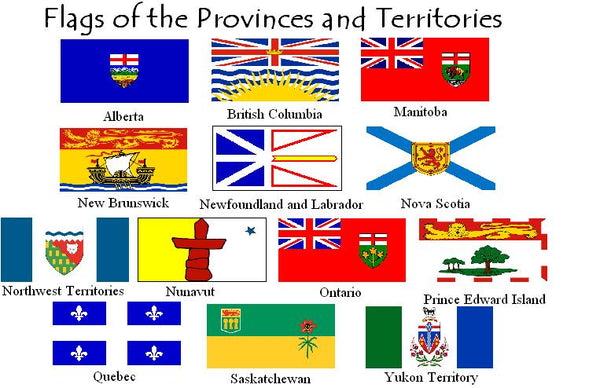 One Dozen Canadian Provinces 3x5 feet Rough Tex ® 100D International Canada Flags