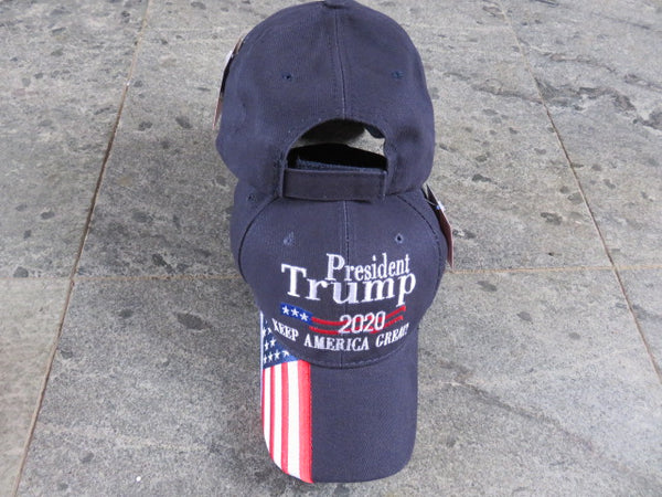 President Trump Keep America Great 2020 Blue American Flag Style Embroidered Cap