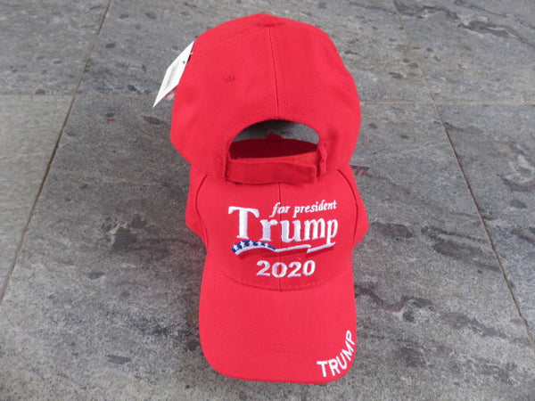 Trump for President 2020 Red Embrodiered 100% Cotton Cap