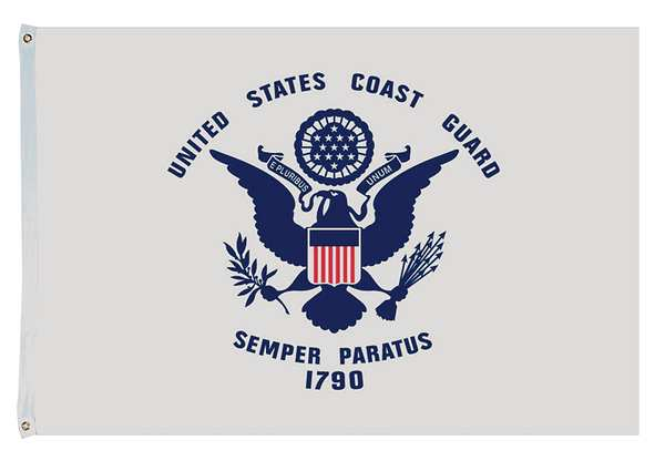 "US Coast Guard U.S. Military 12""x18"" Inches United States Coast Guard Official Boat Flags 150D Flag Rough Tex ® Expertly Printed"