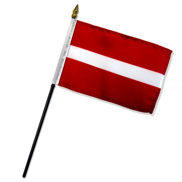 Latvia Stick Flag In Poly 4''X6''