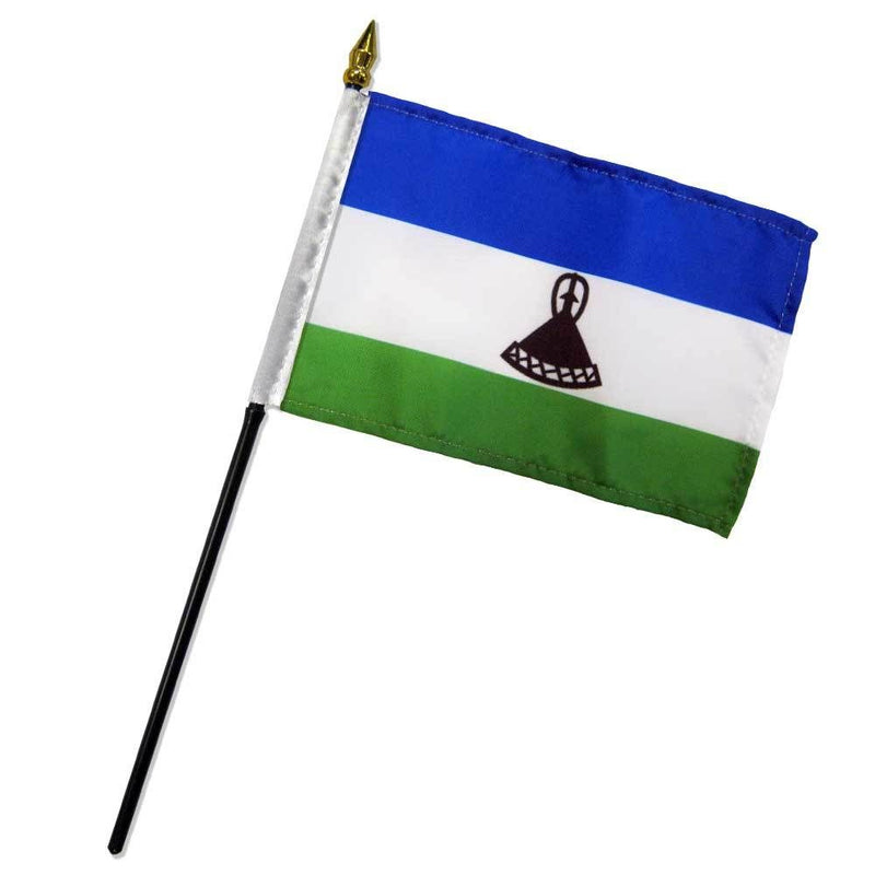 Lesotho Stick Flag In Poly 4''X6''