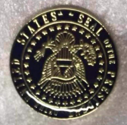 Seal Of the President Of the United States Gold and Blue Cloisonne Hat & Lapel Pin