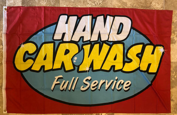 Hand Car Wash Full Service 3'x5' 100D Flag Rough Tex ® Business Flag
