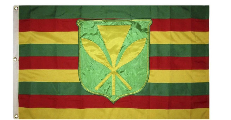 Kanaka Maoli Hawaiian 3x5 Feet 600D Rough Tex Sewn & Embroidered Original Reproduction Flag