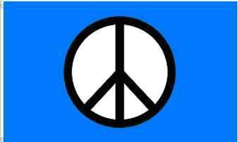 Peace Sign Blue Flag 3'X5' Rough Tex® 100D Super Polyester