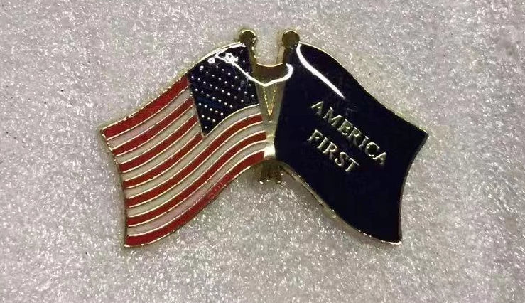 USA & Keep America First Cloisonne Hat & Lapel Pin