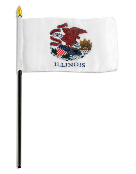 Illinois Stick Flag In Poly- 4''x6'' Rough Tex®
