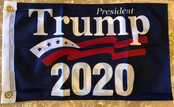 "President Trump 2020 Official Boat Flag 12""X18"" Knit Double Sided MAGA Blue"