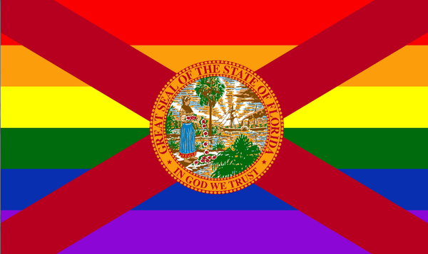 Florida Pride With Rainbow 3'X5' Flag Rough Tex® 68D Nylon