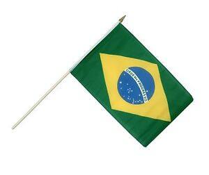 12 Brazil - Stick Flag 12''x18'' Rough Tex ® 68D