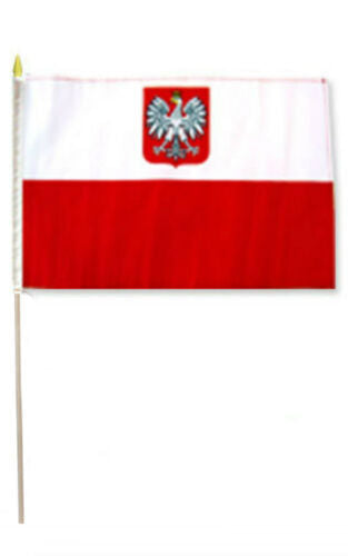 Old Poland Stick Flag - 8''x12'' Rough Tex ®68D Nylon
