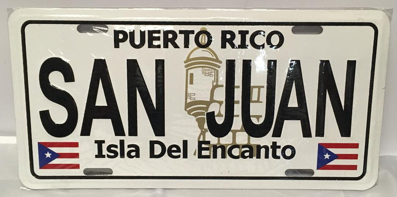 San Juan Puerto Rico Plain License Plate With Flags