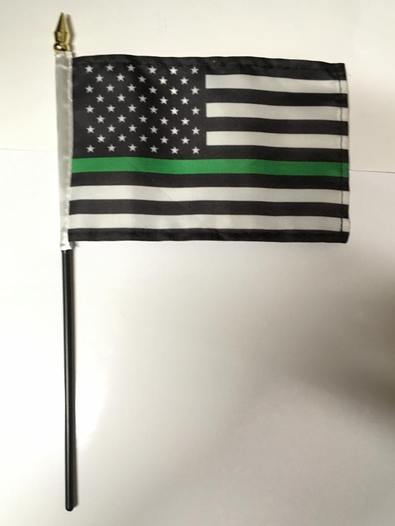 "4""x6"" Stick Desk Flag US thin green line MILITARY USA MEMORIAL AMERICAN FLAG"