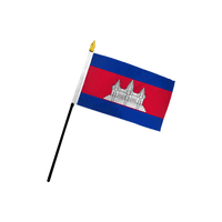 Cambodia Stick Flag In Poly- 4''x6'' Rough Tex®