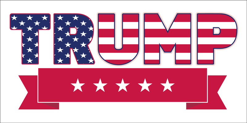 TRUMP FIVE STARS US FLAG Bumper Sticker Made in USA American Flag