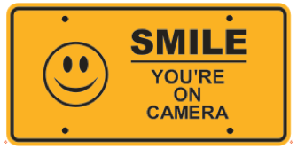 SMILE YOU'RE ON CAMERA ALUMINUM EMBOSSED LICENSE PLATE