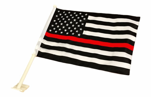 "USA Fire Memorial Red Line - Double Sided Knit 12""X18"" Car Flag Rough Tex® 100D"