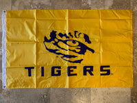 LSU Louisiana State University TIGERS® Premium Applique Two-Sided Flag Flag 3'X5'