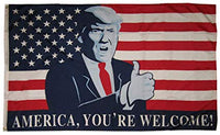 "Trump Flag 3'x5' 100D ""America You're Welcome"" Flag Rough Tex ®"