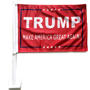 *TEMPORARILY OUT OF STOCK* 12 TRUMP IV RED CAR FLAGS BY THE DOZEN WHOLESALE PER DESIGN!