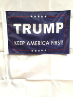 *TEMPORARILY OUT OF STOCK* Trump Keep America First Blue Double Sided Car Flag - 12''x18'' Knit