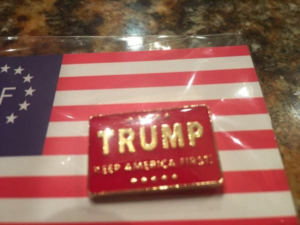 "Trump ""Keep America First!"" Red Lapel Pin"