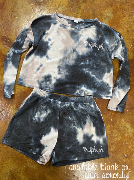 Tie-Dye Loungewear - Black Marble (Top or Bottom)