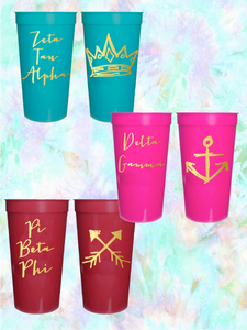 Sorority Gifts - Stadium Cup with gold foil print