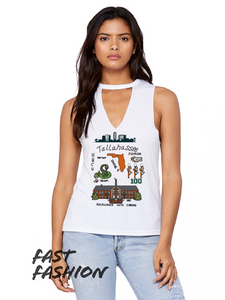 Tallahassee Print (A&M) - Women's Flowy Cut Neck Tank
