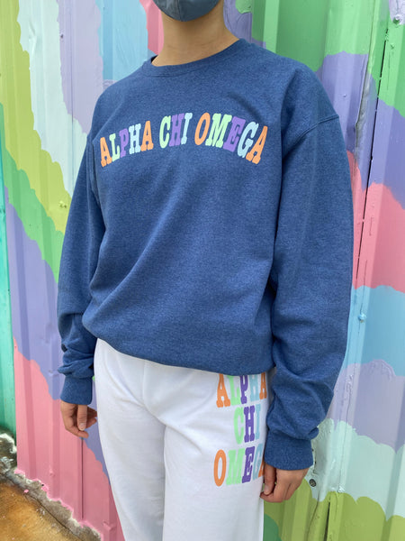 Penny Pastel Sorority Color Block Sweatshirt - Washed Blue
