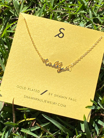 Tally Script Gold Plated Necklace