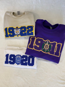 Divine 9 - Stitch Letter Founding Date Crewneck Sweaters