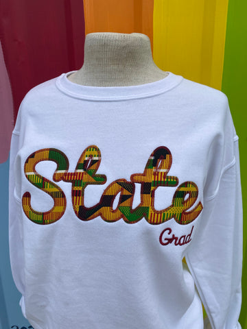 Game Day - State Grad Kente Cloth Stitch Sweatshirt