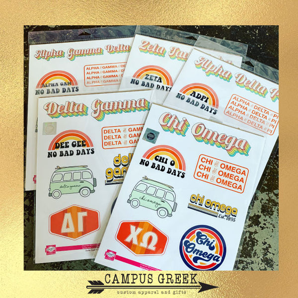 Sticker Sheet Retro Theme Pi Beta Phi