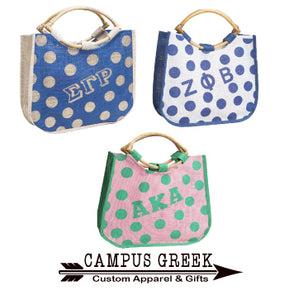 Divine 9 - Sorority Polka Dot Large Jute Bag